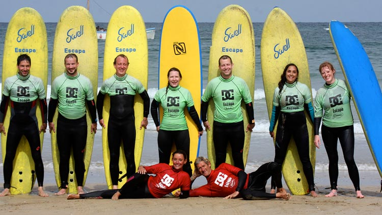 corporate events group surf lessons newquay