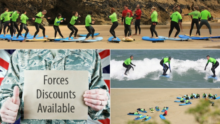 surfing lessons for military and forces